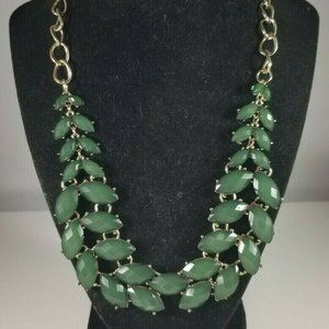 Green Goldtone Bib Statement Necklace